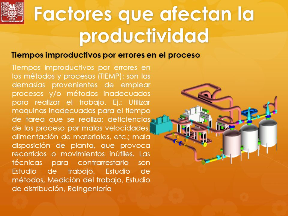 Factores que afectan la productividad Tiempos improductivos por errores en los métodos y procesos (TIEMP): son las demasías provenientes de emplear procesos y/o métodos inadecuados para realizar el trabajo.