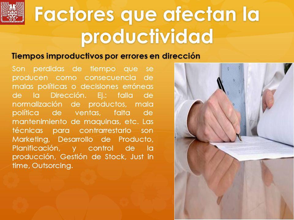 Factores que afectan la productividad Son perdidas de tiempo que se producen como consecuencia de malas políticas o decisiones erróneas de la Dirección.