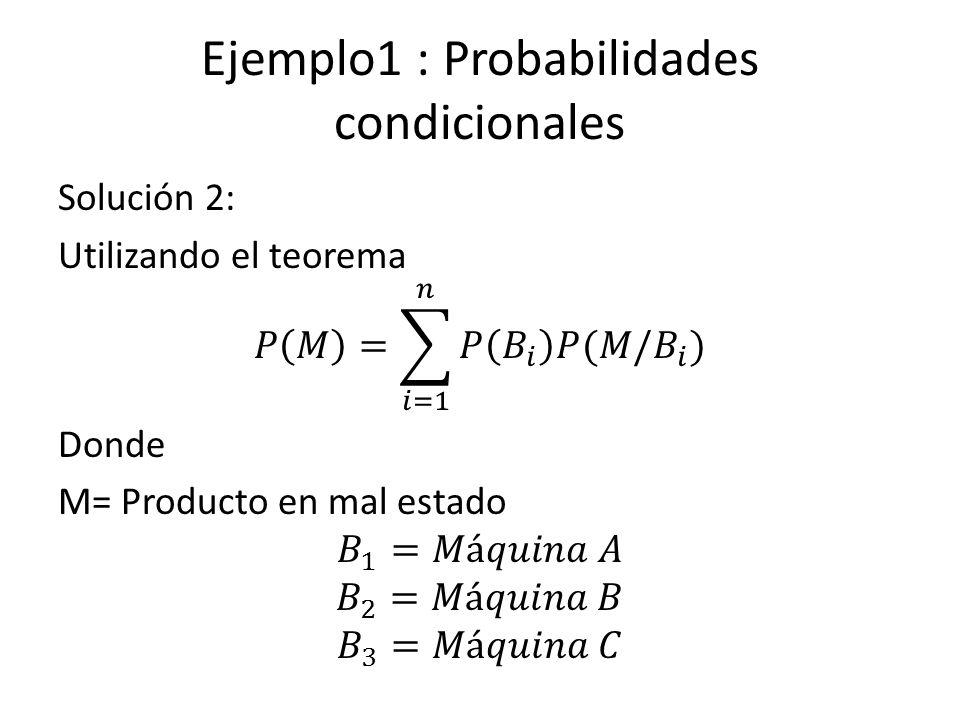 Ejemplo1 : Probabilidades condicionales