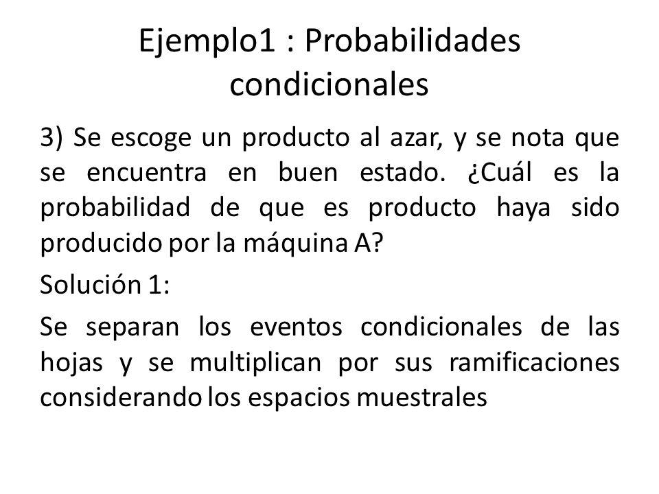 Ejemplo1 : Probabilidades condicionales 3) Se escoge un producto al azar, y se nota que se encuentra en buen estado.