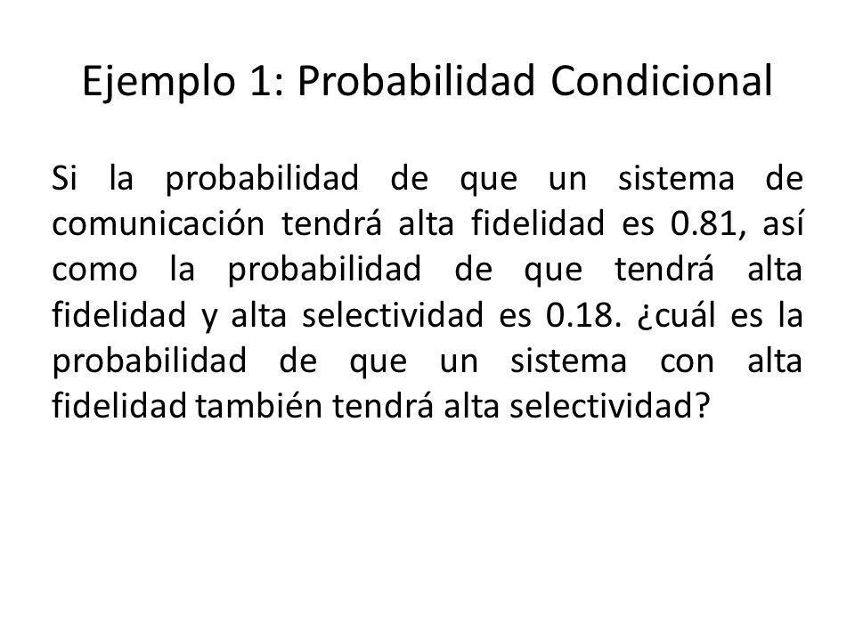 Ejemplo 1: Probabilidad Condicional Si la probabilidad de que un sistema de comunicación tendrá alta fidelidad es 0.81, así como la probabilidad de que tendrá alta fidelidad y alta selectividad es 0.18.