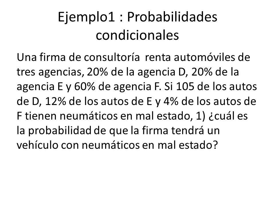 Ejemplo1 : Probabilidades condicionales Una firma de consultoría renta automóviles de tres agencias, 20% de la agencia D, 20% de la agencia E y 60% de agencia F.