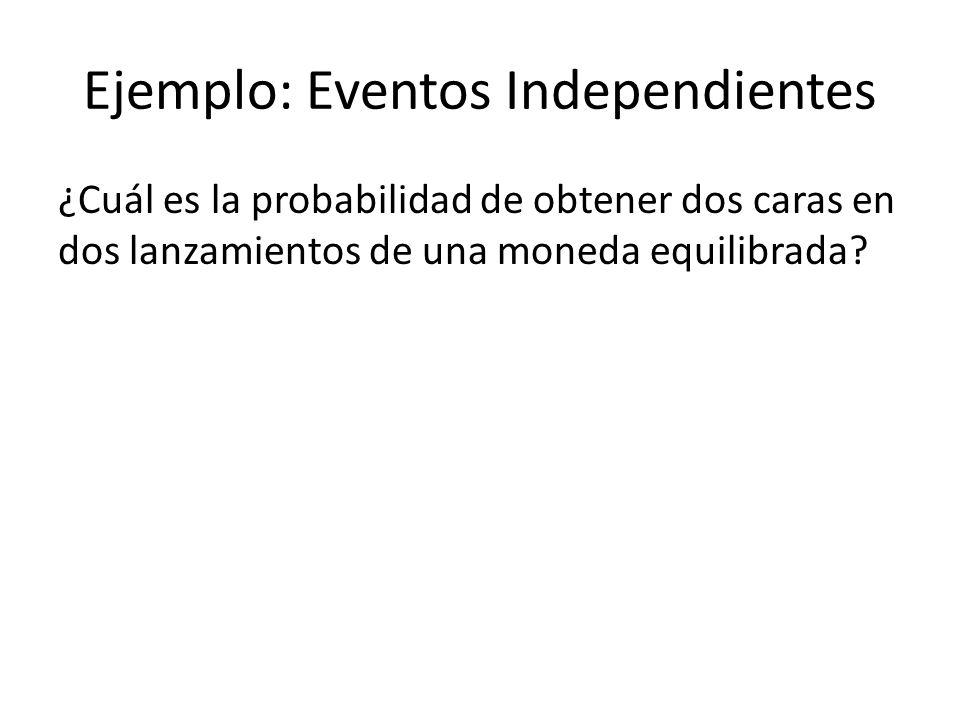 Ejemplo: Eventos Independientes ¿Cuál es la probabilidad de obtener dos caras en dos lanzamientos de una moneda equilibrada