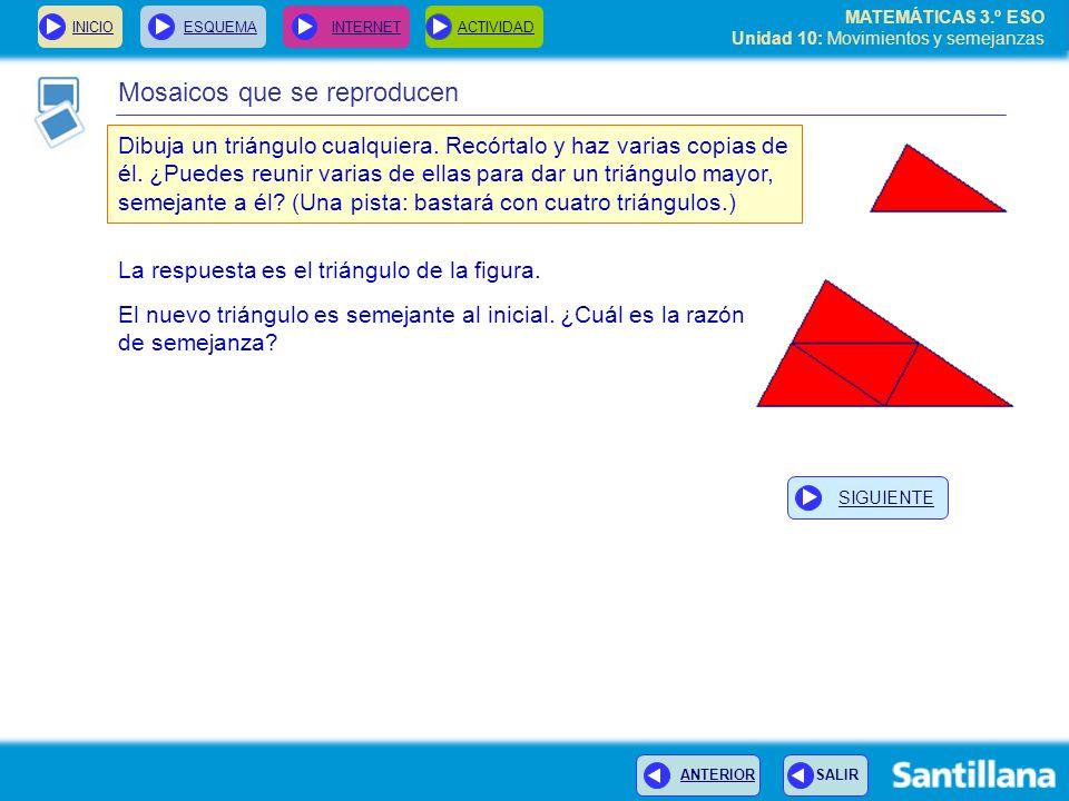 MATEMÁTICAS 3.º ESO Unidad 10: Movimientos y semejanzas Mosaicos que se reproducen Dibuja un triángulo cualquiera.