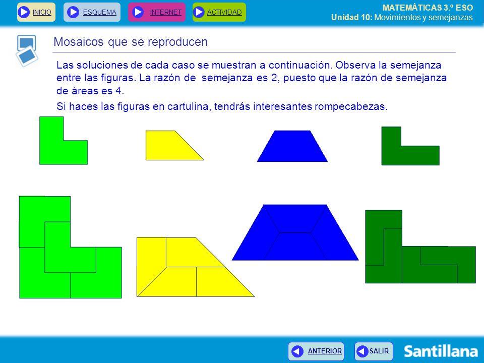 MATEMÁTICAS 3.º ESO Unidad 10: Movimientos y semejanzas Mosaicos que se reproducen INICIOESQUEMA INTERNETACTIVIDAD ANTERIOR SALIR Las soluciones de cada caso se muestran a continuación.