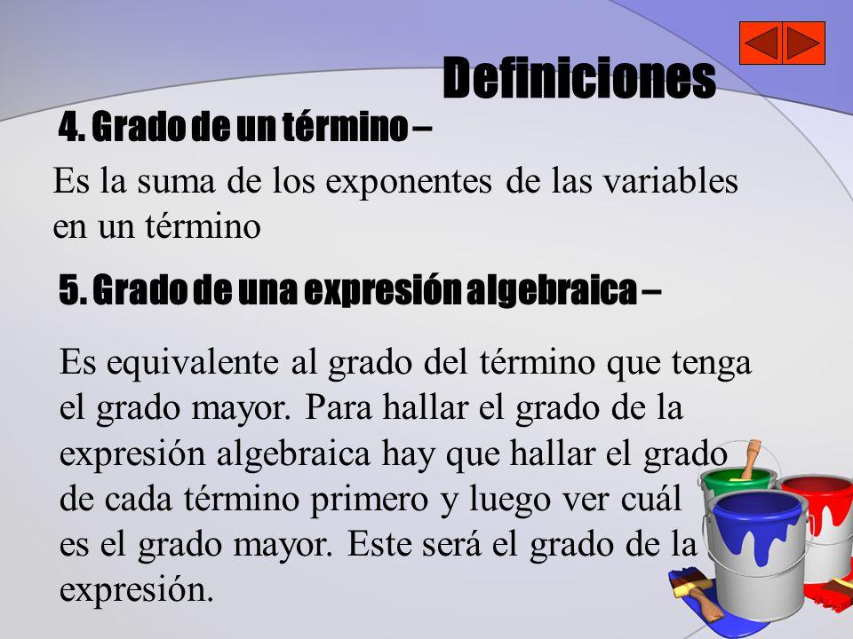 Definiciones 4.Grado de un término – 5.