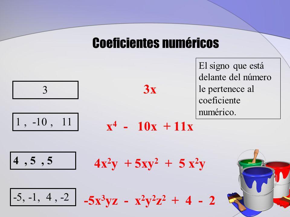 3x x 4 - 10x + 11x 4x 2 y + 5xy 2 + 5 x 2 y -5x 3 yz - x 2 y 2 z 2 + 4 - 2 3 Coeficientes numéricos El signo que está delante del número le pertenece al coeficiente numérico.