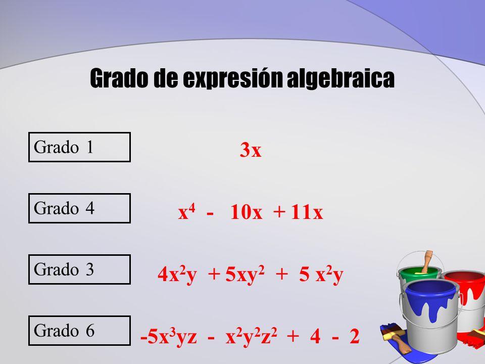3x x 4 - 10x + 11x 4x 2 y + 5xy 2 + 5 x 2 y -5x 3 yz - x 2 y 2 z 2 + 4 - 2 Grado 1 Grado de expresión algebraica Grado 4 Grado 3 Grado 6