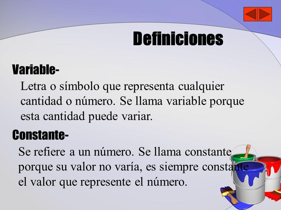 Definiciones Variable- Constante- Letra o símbolo que representa cualquier cantidad o número.