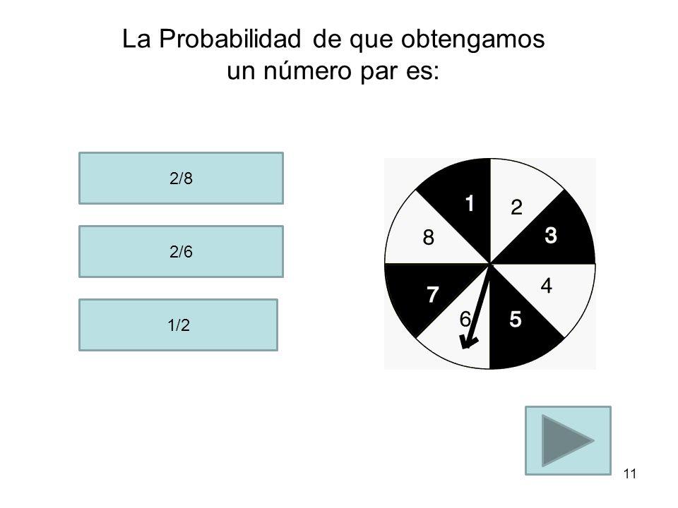 La Probabilidad de que obtengamos un 3 es: 1/3 1/8 3/8 10