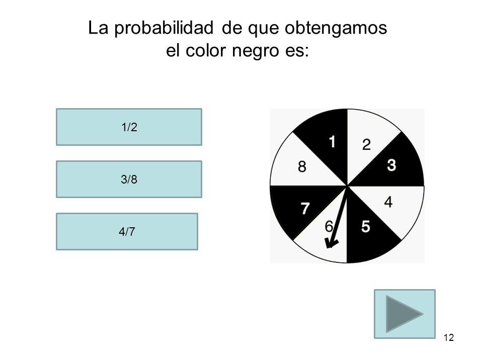 La Probabilidad de que obtengamos un número par es: 2/8 2/6 1/2 11