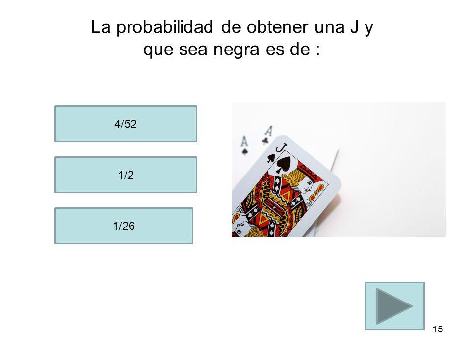 La probabilidad de obtener un A de corazón en un paquete de 52 cartas es: 1/52 2/52 5/52 14