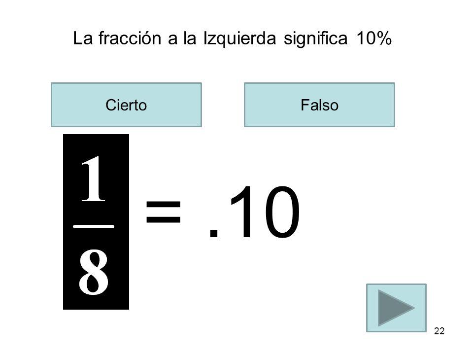 La fracción a la Izquierda significa 25% CiertoFalso 21 =.25