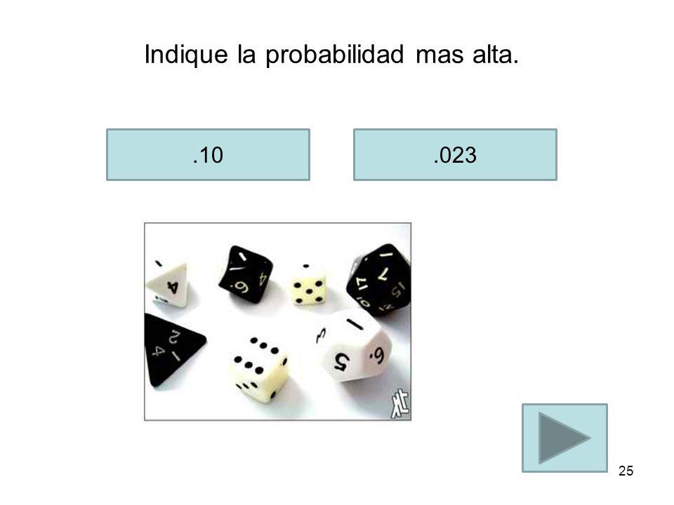 Indique que probabilidad es mas baja..01.009 24