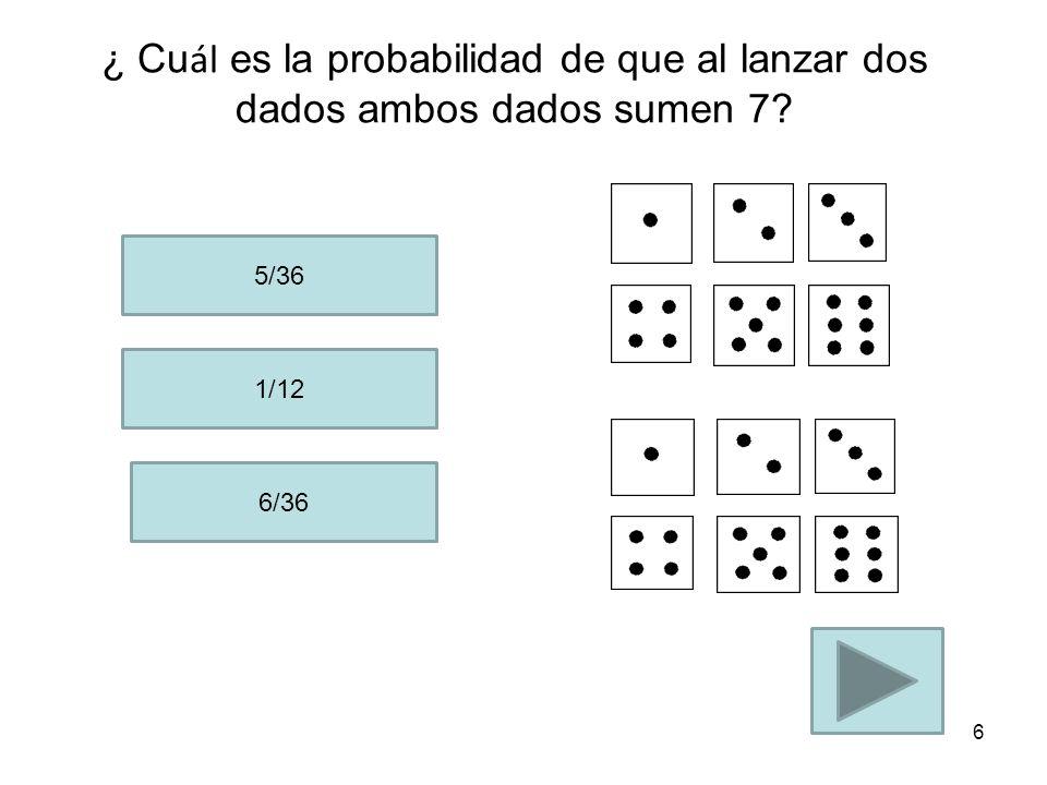 ¿ Cu ál es la probabilidad de que al lanzar un dado obtengas 5? 1/6 2/6 1/2 5