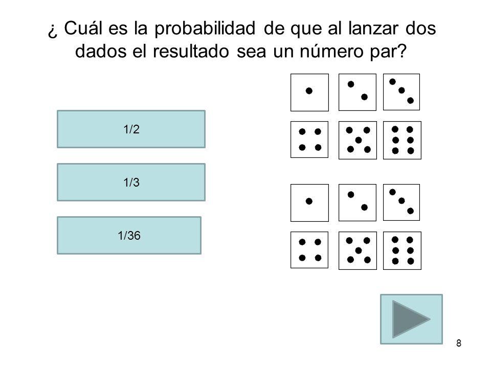 ¿ Cu ál es la probabilidad de que al lanzar dos dados ambos dados sumen 12? 1/2 1/36 1/12 7