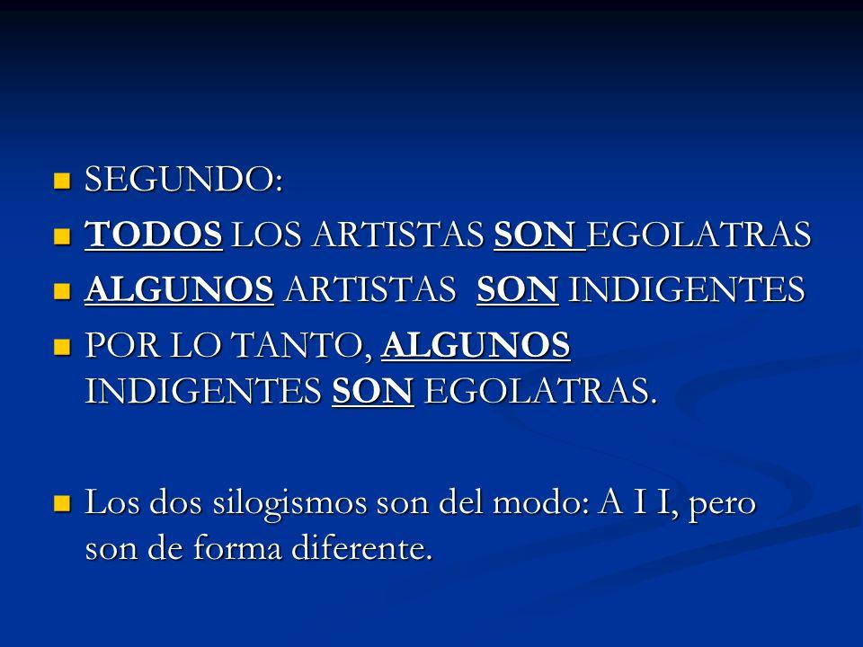 SEGUNDO: SEGUNDO: TODOS LOS ARTISTAS SON EGOLATRAS TODOS LOS ARTISTAS SON EGOLATRAS ALGUNOS ARTISTAS SON INDIGENTES ALGUNOS ARTISTAS SON INDIGENTES PO