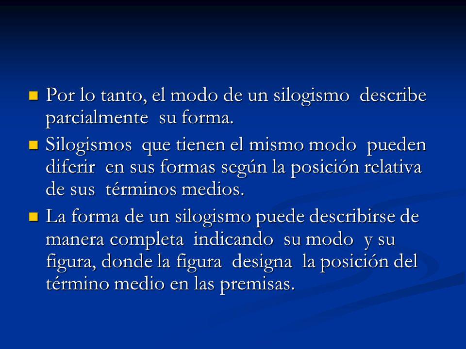 Por lo tanto, el modo de un silogismo describe parcialmente su forma. Por lo tanto, el modo de un silogismo describe parcialmente su forma. Silogismos