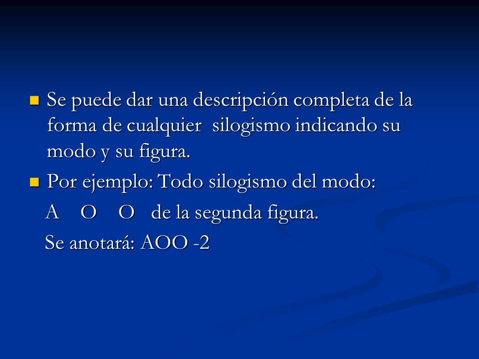 Se puede dar una descripción completa de la forma de cualquier silogismo indicando su modo y su figura. Se puede dar una descripción completa de la fo