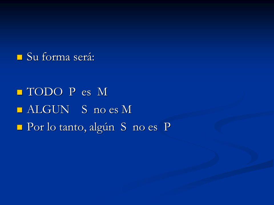 Su forma será: Su forma será: TODO P es M TODO P es M ALGUN S no es M ALGUN S no es M Por lo tanto, algún S no es P Por lo tanto, algún S no es P