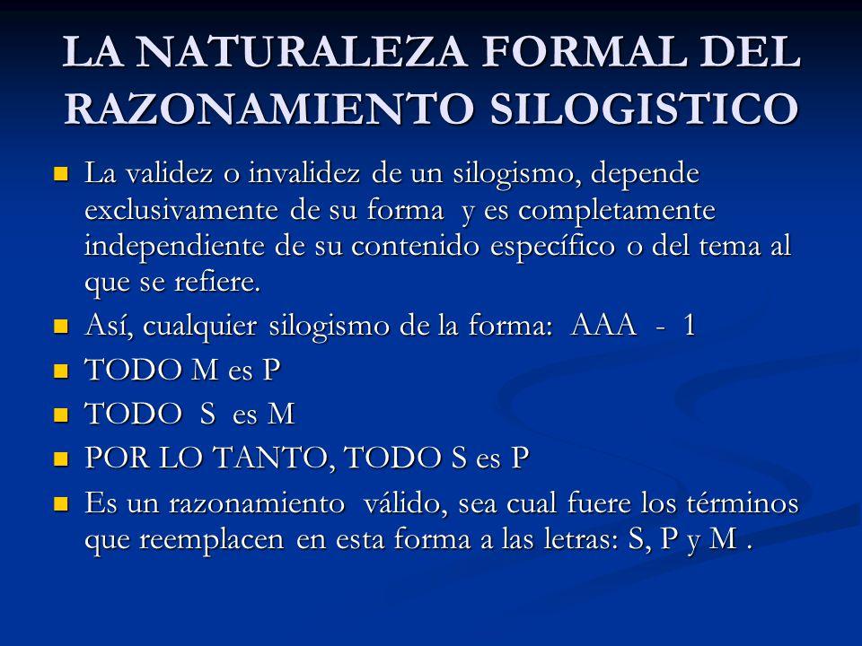 LA NATURALEZA FORMAL DEL RAZONAMIENTO SILOGISTICO La validez o invalidez de un silogismo, depende exclusivamente de su forma y es completamente indepe