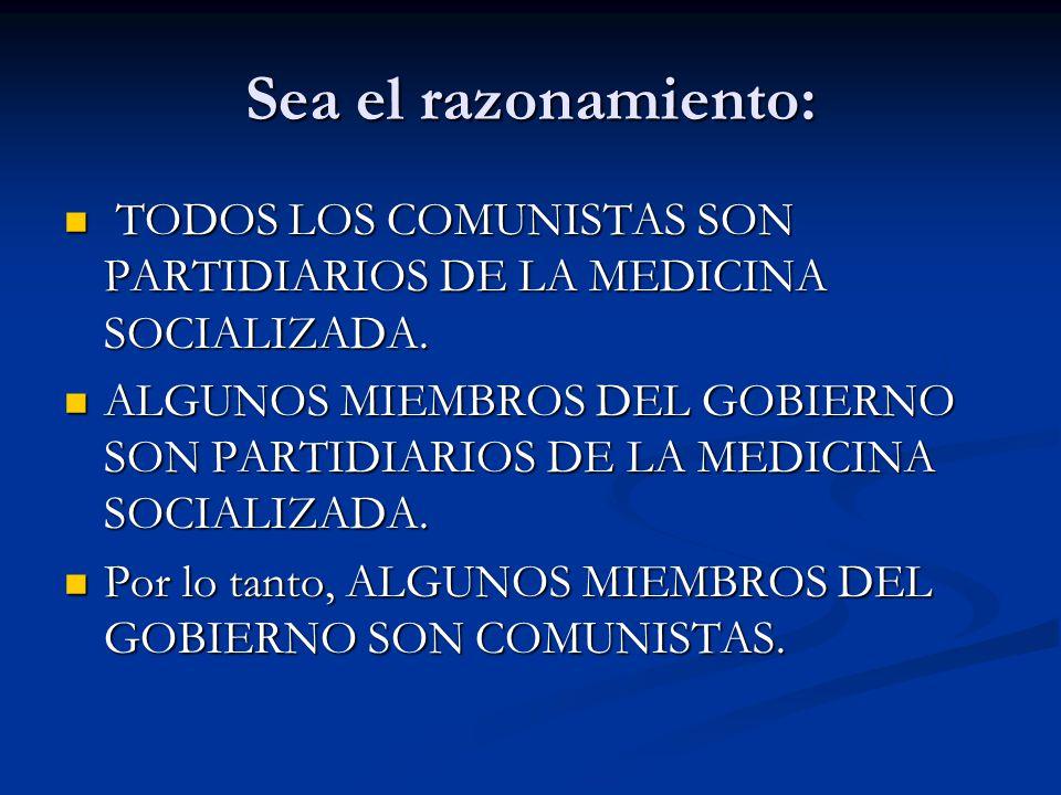 Sea el razonamiento: TODOS LOS COMUNISTAS SON PARTIDIARIOS DE LA MEDICINA SOCIALIZADA. TODOS LOS COMUNISTAS SON PARTIDIARIOS DE LA MEDICINA SOCIALIZAD