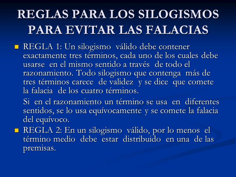 REGLAS PARA LOS SILOGISMOS PARA EVITAR LAS FALACIAS REGLA 1: Un silogismo válido debe contener exactamente tres términos, cada uno de los cuales debe