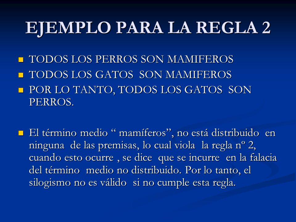 EJEMPLO PARA LA REGLA 2 TODOS LOS PERROS SON MAMIFEROS TODOS LOS PERROS SON MAMIFEROS TODOS LOS GATOS SON MAMIFEROS TODOS LOS GATOS SON MAMIFEROS POR