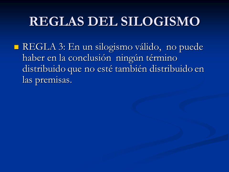 REGLAS DEL SILOGISMO REGLA 3: En un silogismo válido, no puede haber en la conclusión ningún término distribuido que no esté también distribuido en la