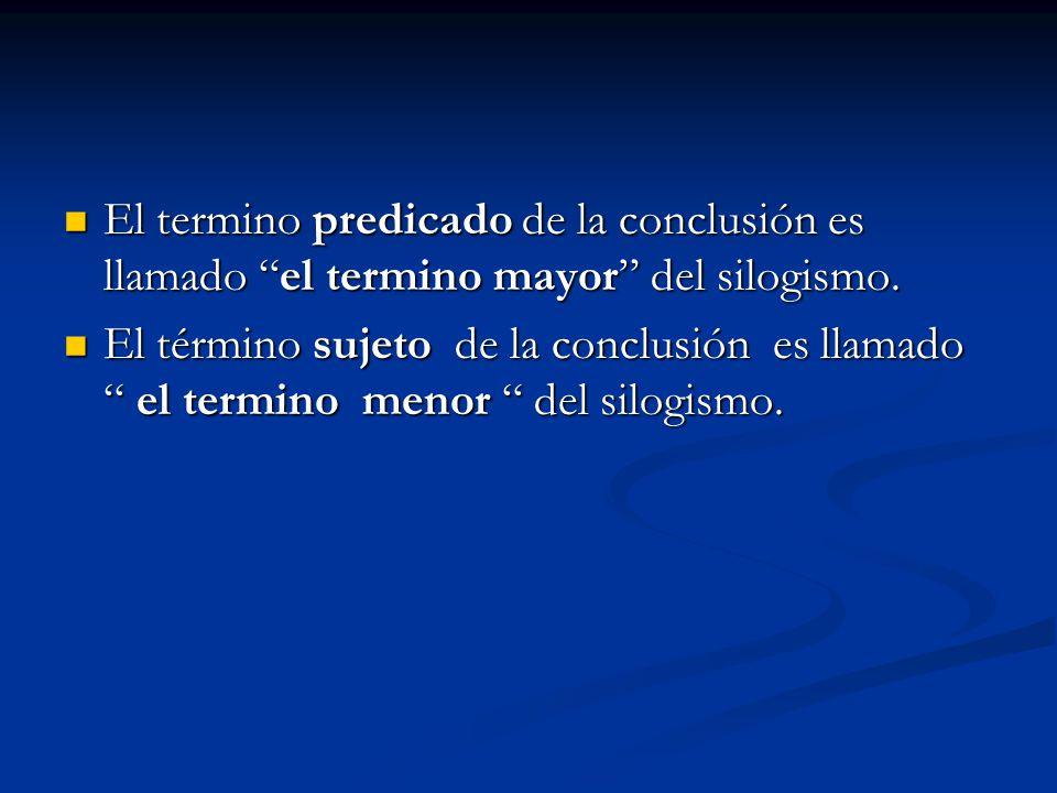 """El termino predicado de la conclusión es llamado """"el termino mayor"""" del silogismo. El termino predicado de la conclusión es llamado """"el termino mayor"""""""