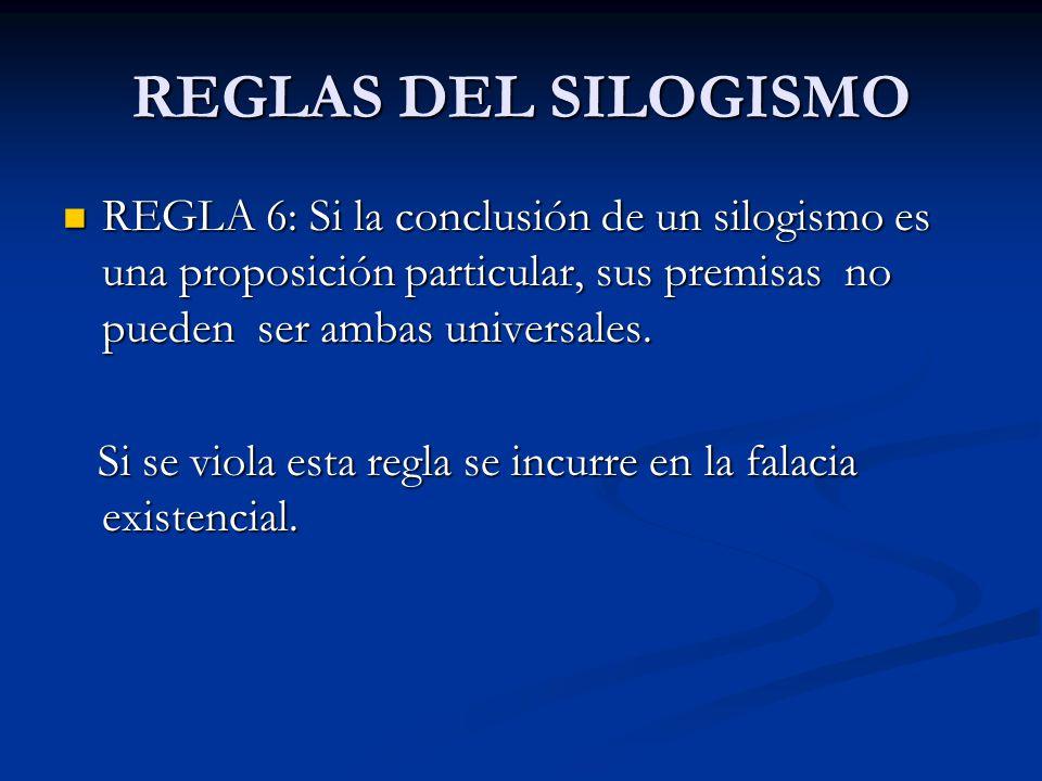 REGLAS DEL SILOGISMO REGLA 6: Si la conclusión de un silogismo es una proposición particular, sus premisas no pueden ser ambas universales. REGLA 6: S