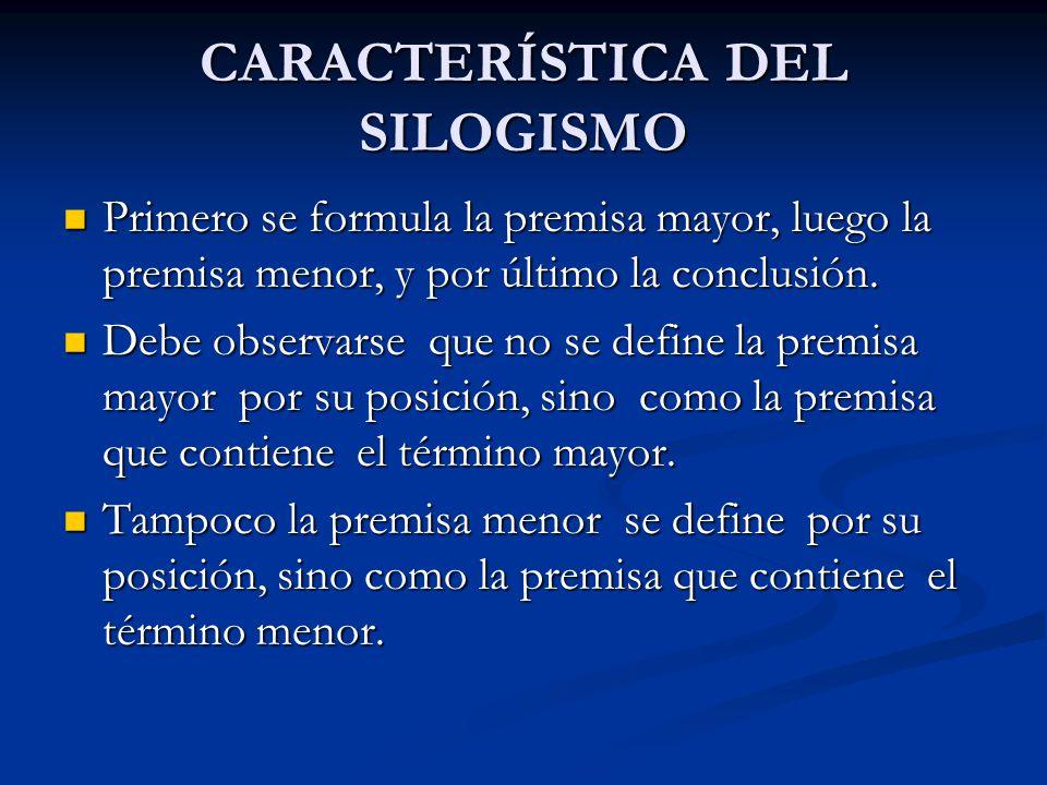 CARACTERÍSTICA DEL SILOGISMO Primero se formula la premisa mayor, luego la premisa menor, y por último la conclusión. Primero se formula la premisa ma