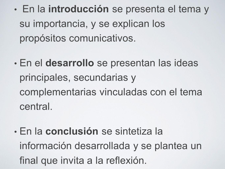En la introducción se presenta el tema y su importancia, y se explican los propósitos comunicativos.