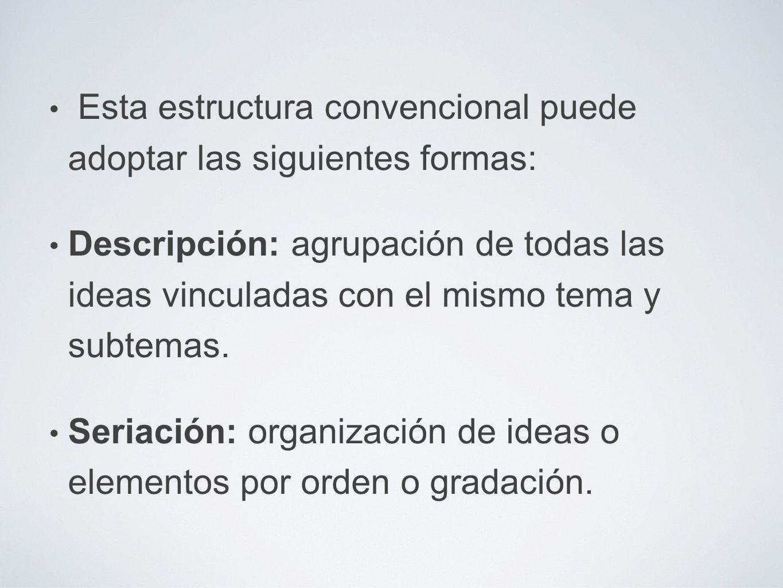Esta estructura convencional puede adoptar las siguientes formas: Descripción: agrupación de todas las ideas vinculadas con el mismo tema y subtemas.