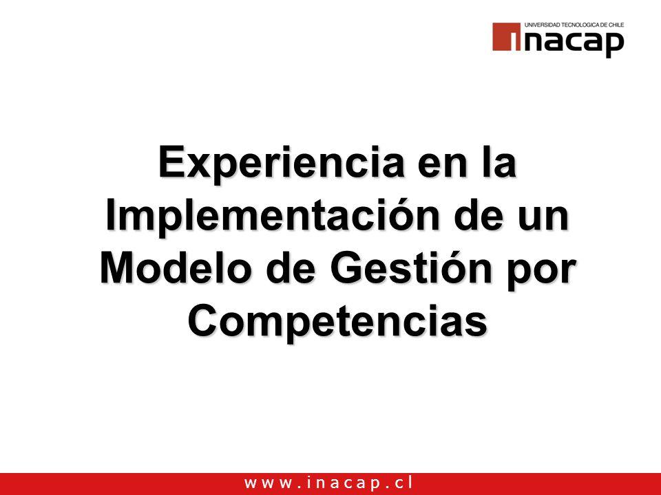 w w w. i n a c a p. c l Experiencia en la Implementación de un Modelo de Gestión por Competencias