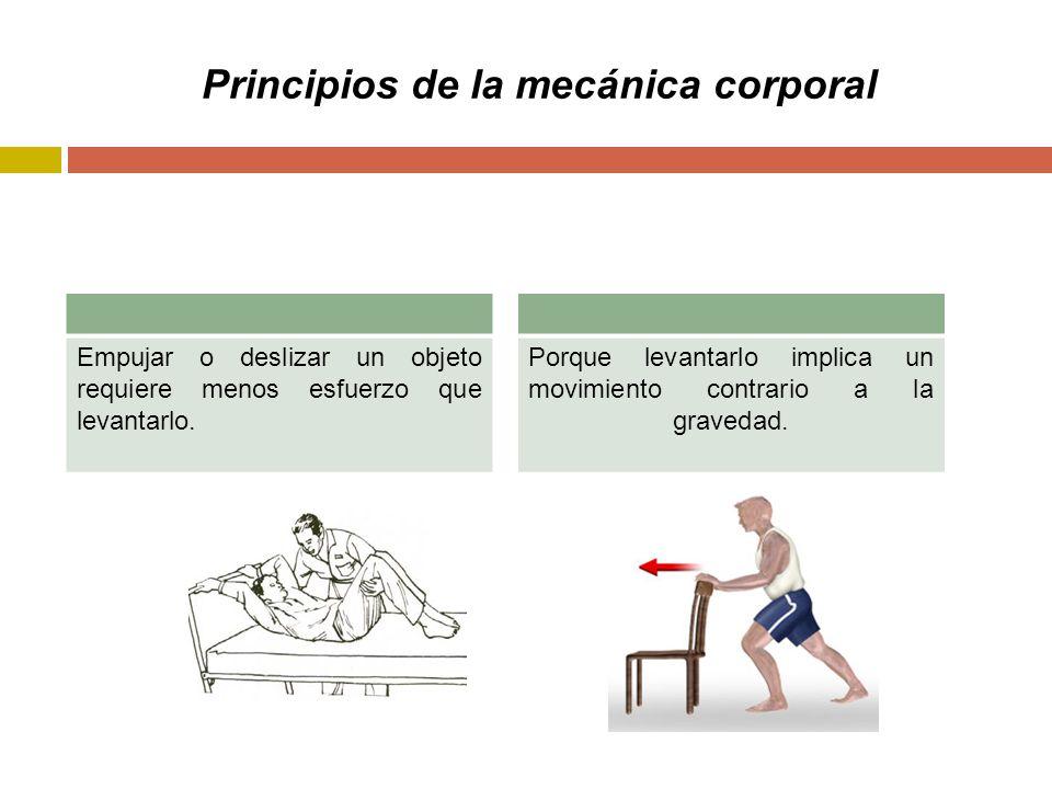 Principios de la mecánica corporal Empujar o deslizar un objeto requiere menos esfuerzo que levantarlo.
