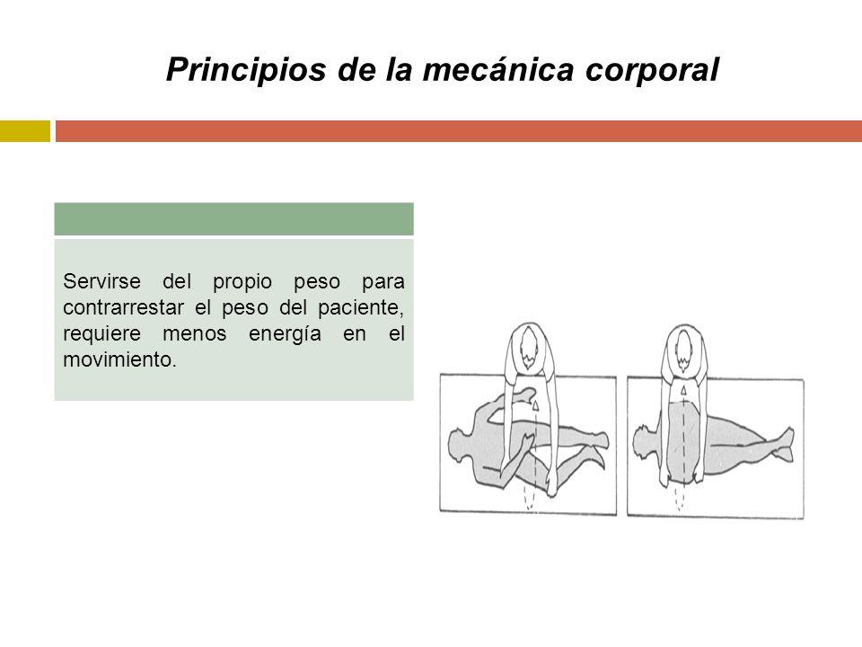 Principios de la mecánica corporal Servirse del propio peso para contrarrestar el peso del paciente, requiere menos energía en el movimiento.