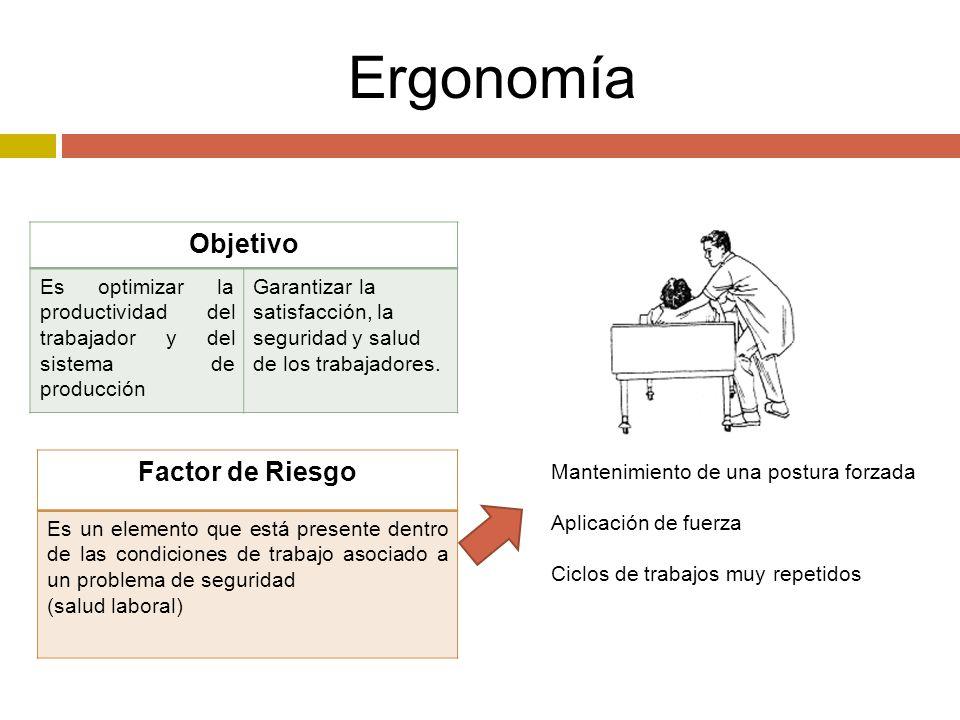 Ergonomía Objetivo Es optimizar la productividad del trabajador y del sistema de producción Garantizar la satisfacción, la seguridad y salud de los trabajadores.