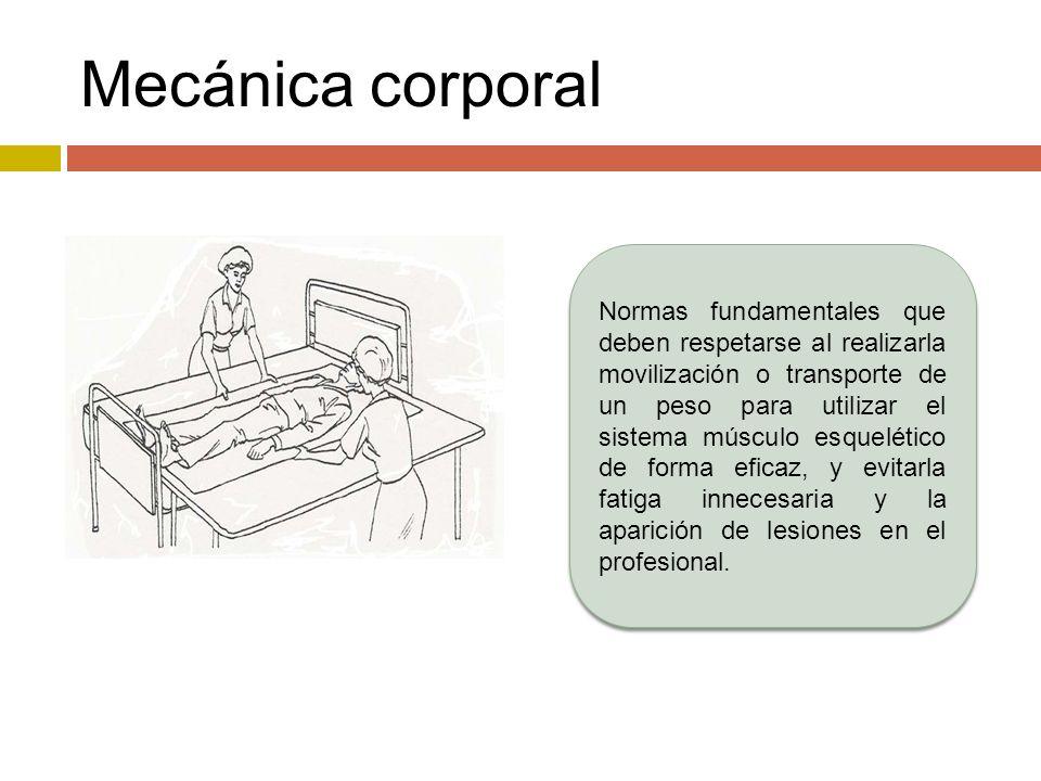 Principios de la mecánica corporal Utilizar, preferentemente, los músculos mayores (de los muslos y piernas), en lugar de los menores (espalda), y el mayor número posible de ellos (los dos miembros superiores en lugar de uno sólo, etc.).