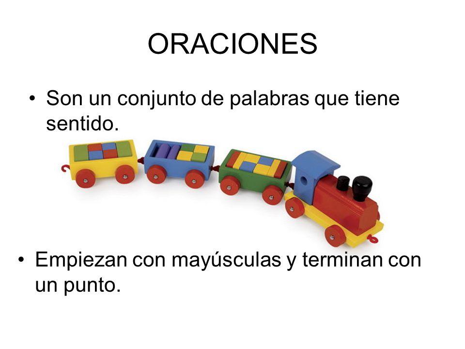 PALABRAS Son los vagones del tren. Están separadas por espacios y algunas veces por comas.