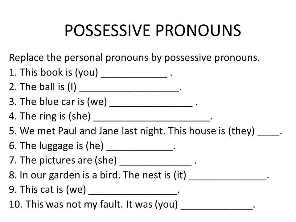 Possessive pronounsadjectives 1 Learn English online