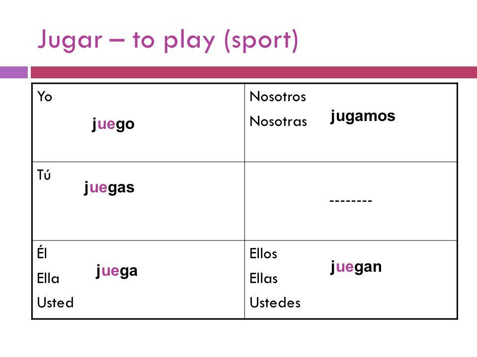 Jugar – to play (sport) YoNosotros Nosotras Tú -------- Él Ella Usted Ellos Ellas Ustedes juega juegas juego jugamos juegan