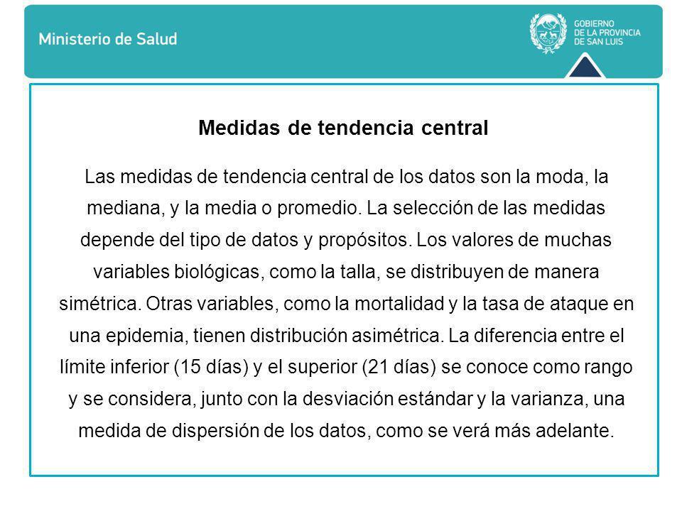 Medidas de tendencia central Las medidas de tendencia central de los datos son la moda, la mediana, y la media o promedio.