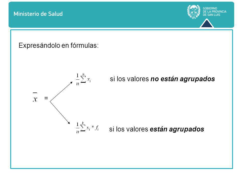 Expresándolo en fórmulas: si los valores no están agrupados = si los valores están agrupados