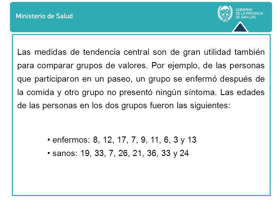 Las medidas de tendencia central son de gran utilidad también para comparar grupos de valores.