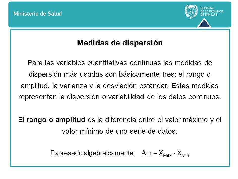 Medidas de dispersión Para las variables cuantitativas contínuas las medidas de dispersión más usadas son básicamente tres: el rango o amplitud, la varianza y la desviación estándar.