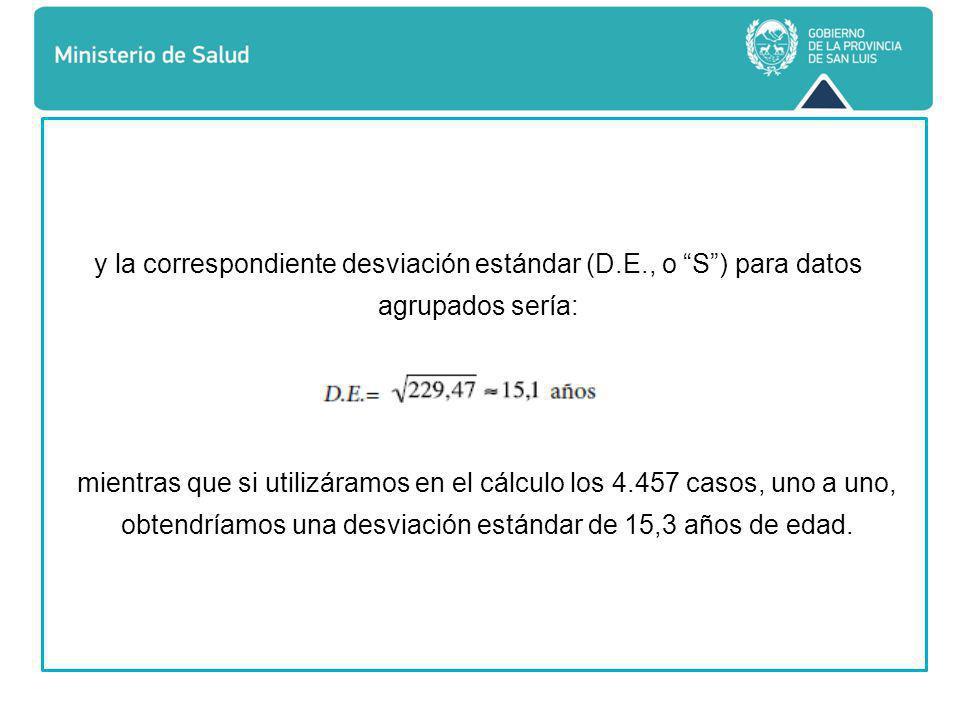 y la correspondiente desviación estándar (D.E., o S ) para datos agrupados sería: mientras que si utilizáramos en el cálculo los 4.457 casos, uno a uno, obtendríamos una desviación estándar de 15,3 años de edad.