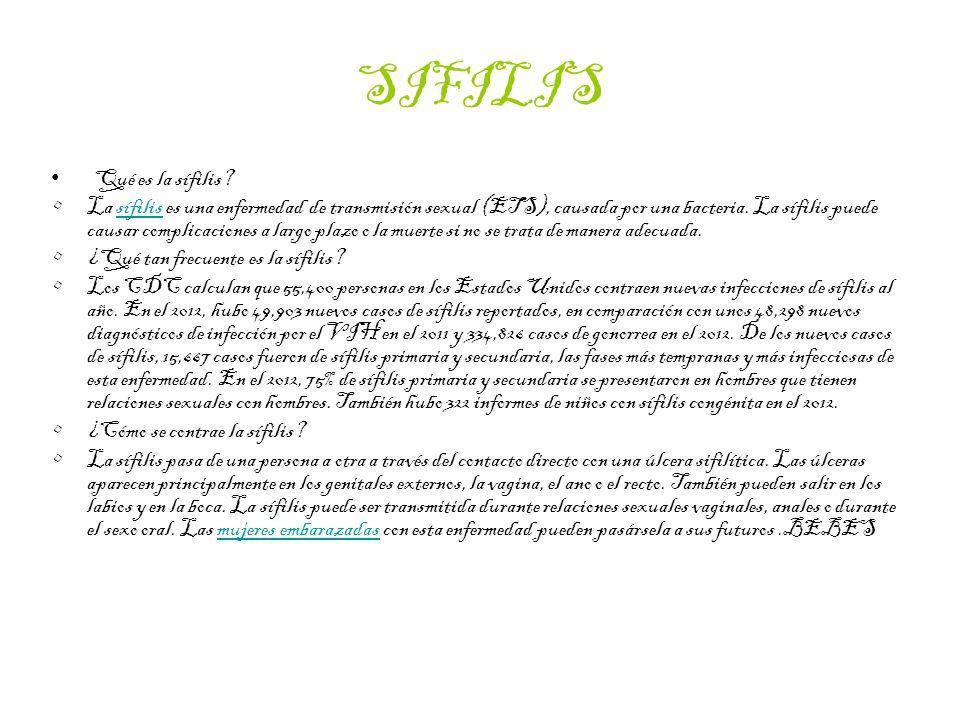 SIFILIS Qué es la sífilis.