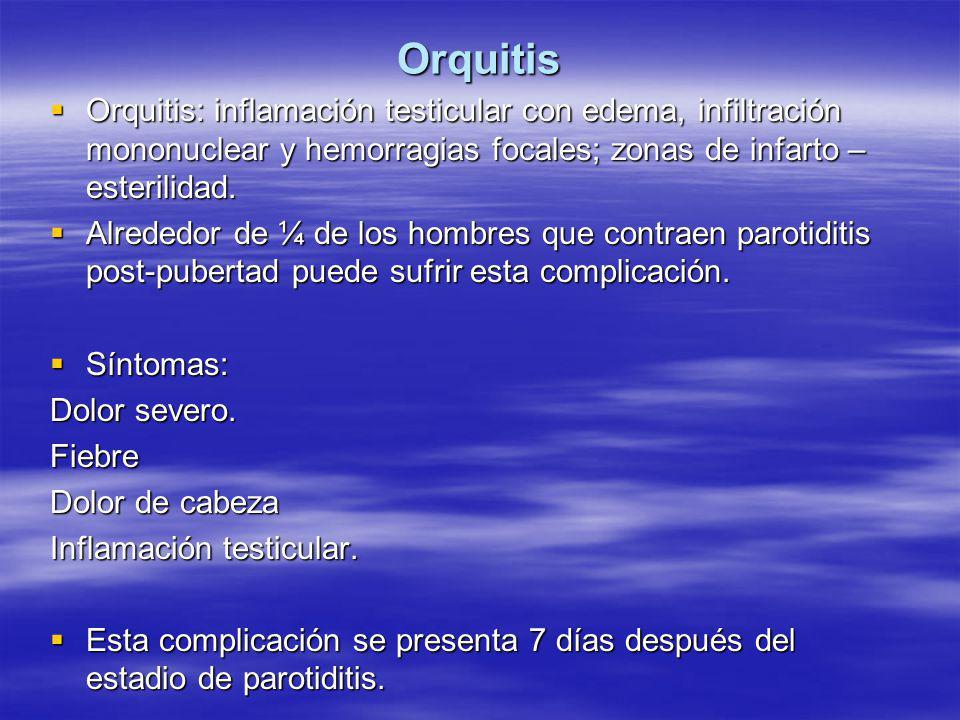 Orquitis  Orquitis: inflamación testicular con edema, infiltración mononuclear y hemorragias focales; zonas de infarto – esterilidad.