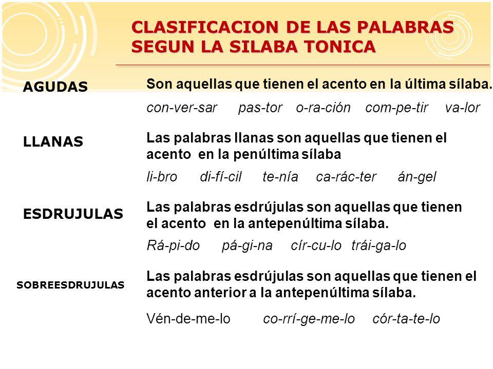 CLASIFICACION DE LAS PALABRAS SEGUN LA SILABA TONICA AGUDAS LLANAS ESDRUJULAS Las palabras esdrújulas son aquellas que tienen el acento en la antepenúltima sílaba.